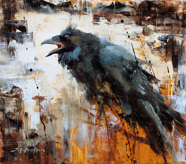 Ebony - raven painting by artist Jerry Markham