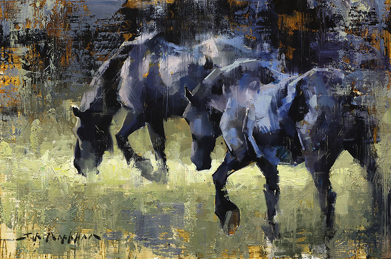 Ebony Equine - painting of black horses by Jerry Markham artist