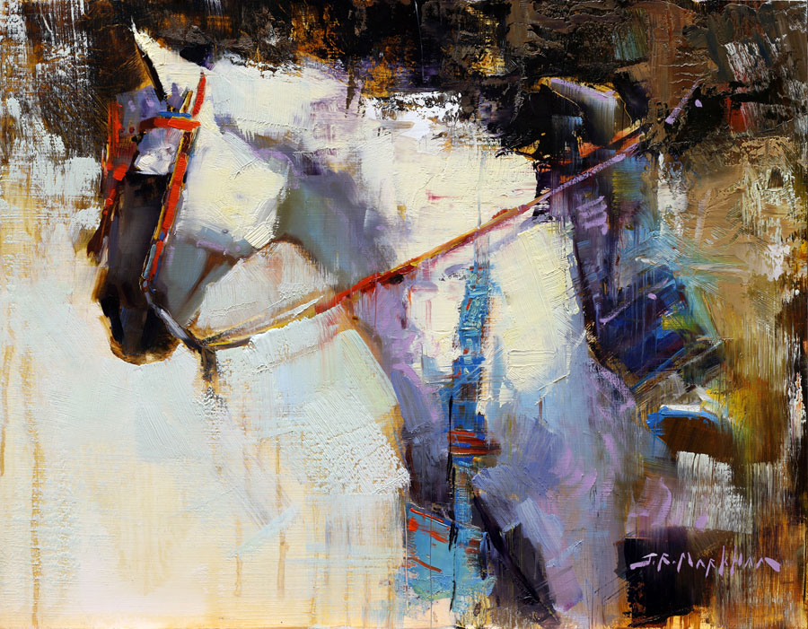 Elegant Equine - painting of a white horse with native regalia by artist Jerry Markham