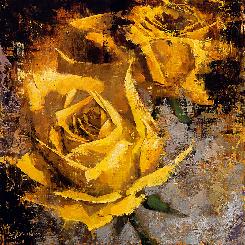 Essence of Beauty - painting of yellow roses by Jerry Markham artist