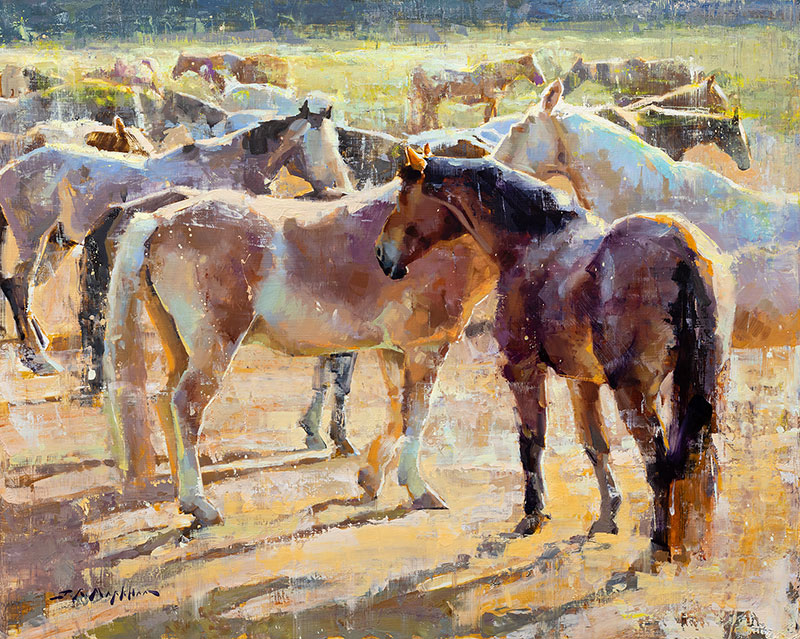Family Reunion - painting of horses by Jerry Markham artist