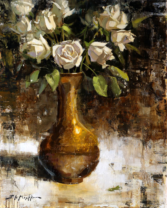 Fresh Bouquet - painting of white roses by Jerry Markham