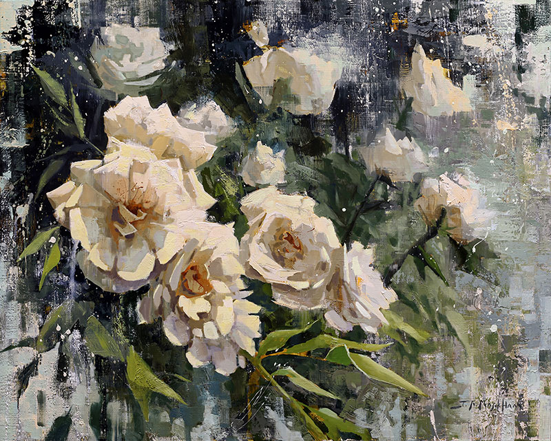 Garden Glory - painting of white roses by artist Jerry Markham