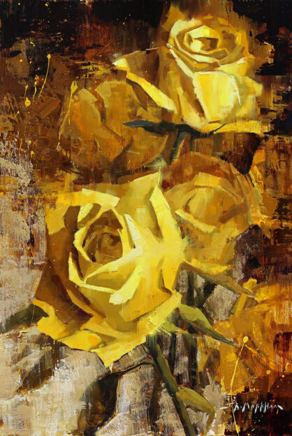 Golden Roses - painting of yellow roses by Jerry Markham artist