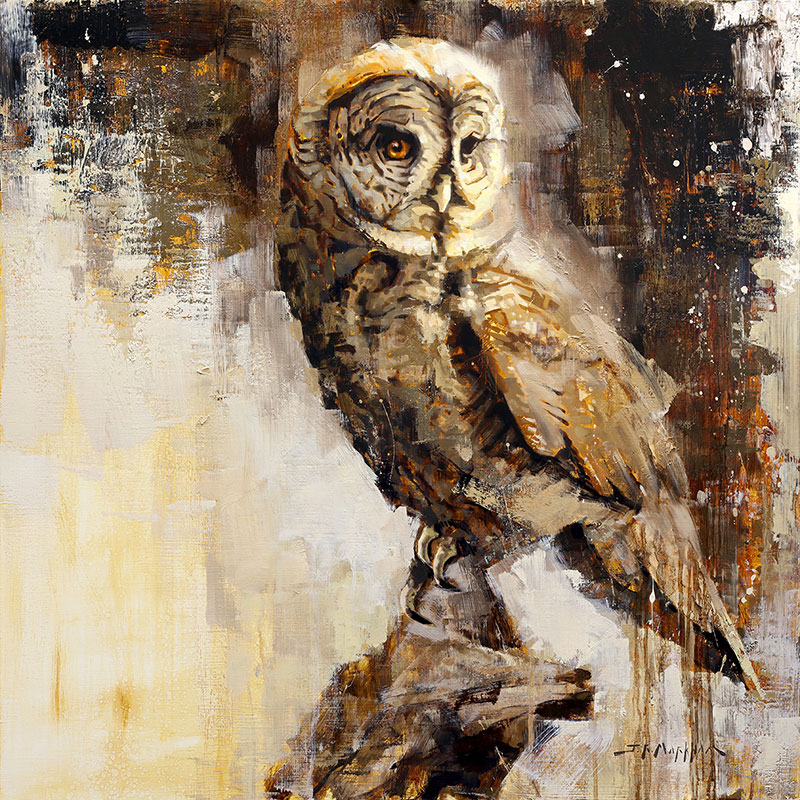 Great Gray - owl painting by Jerry Markham artist
