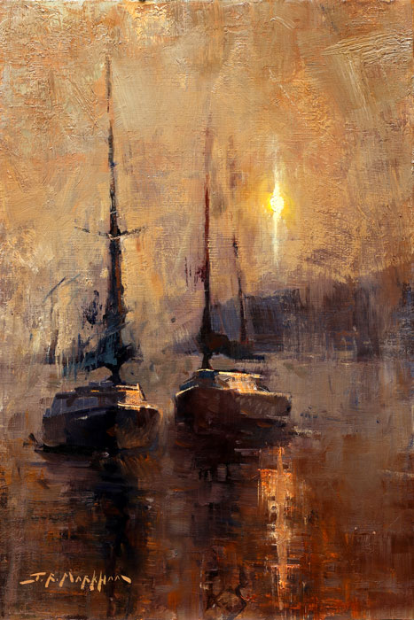 Harbour Dawn - painting of sailboats
