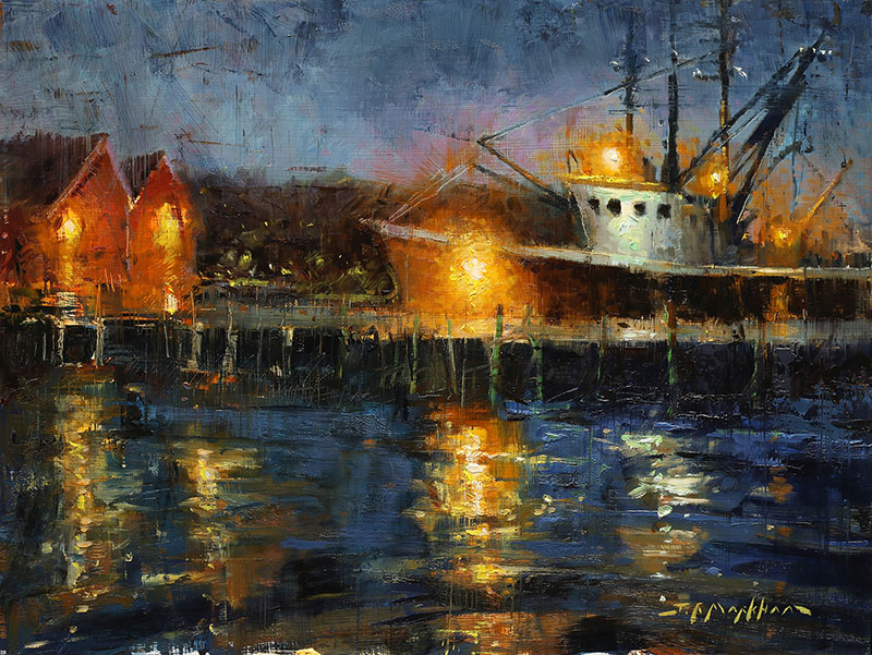 Harbour Lights - painting of fishing boat at night