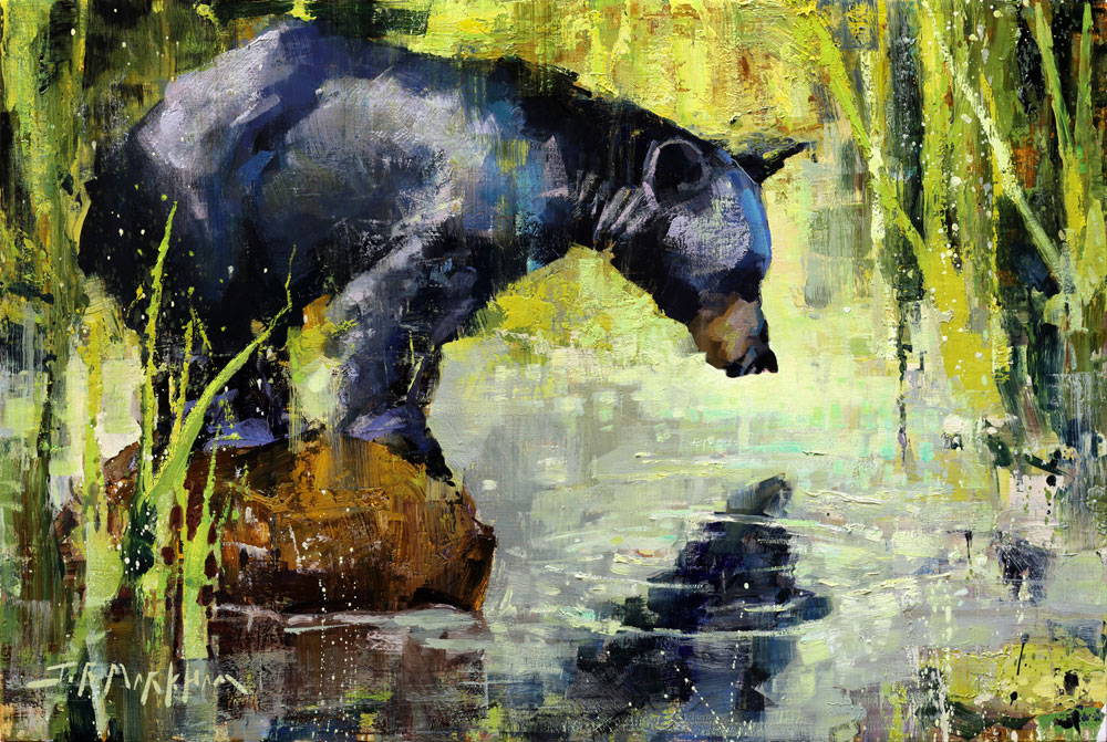 Hey Good Looking - painting of black bear by Jerry Markham