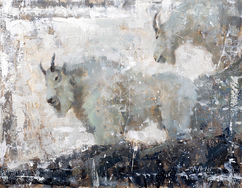 High Country Snow - painting of mountain goats by artist Jerry Markham