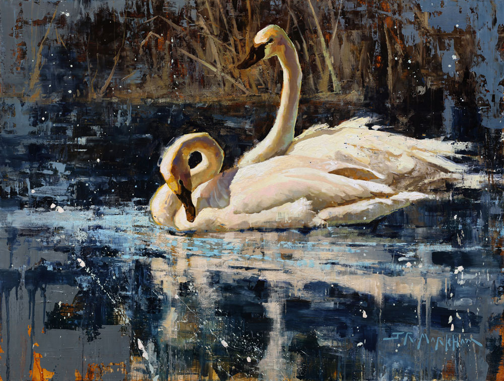 Just The Two of Us - painting of swans by Jerry Markham
