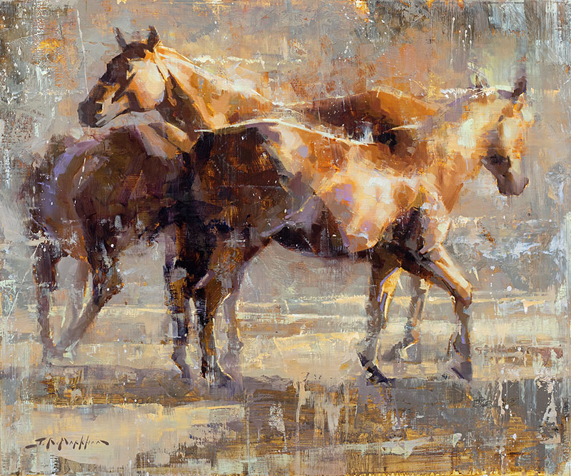 Kickin' up a Fuss - Painting of horses by artist Jerry Markham