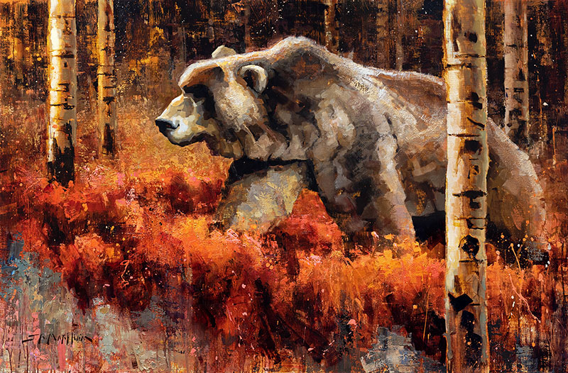 King of His Jungle - painting of a grizzly bear in fall landscape by artist Jerry Markham