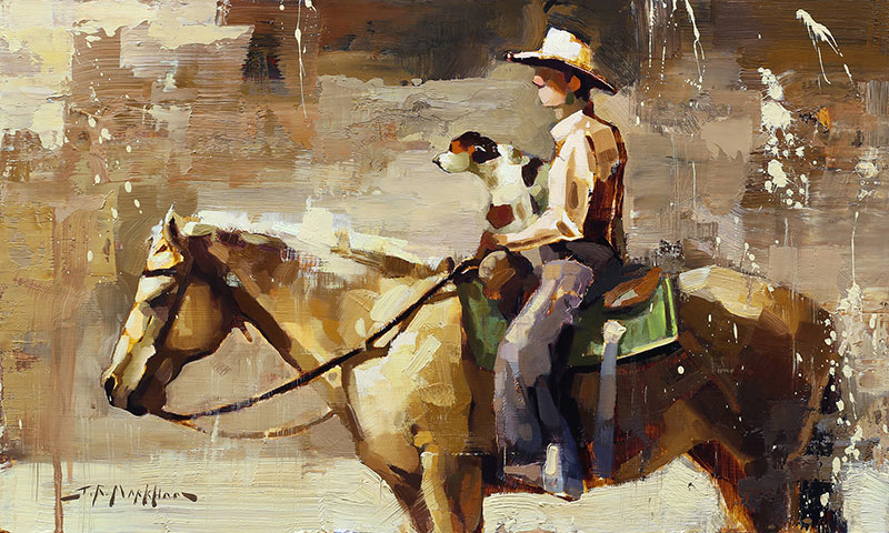 Little Hitchhiker - painting of a cowboy by artist Jerry Markham
