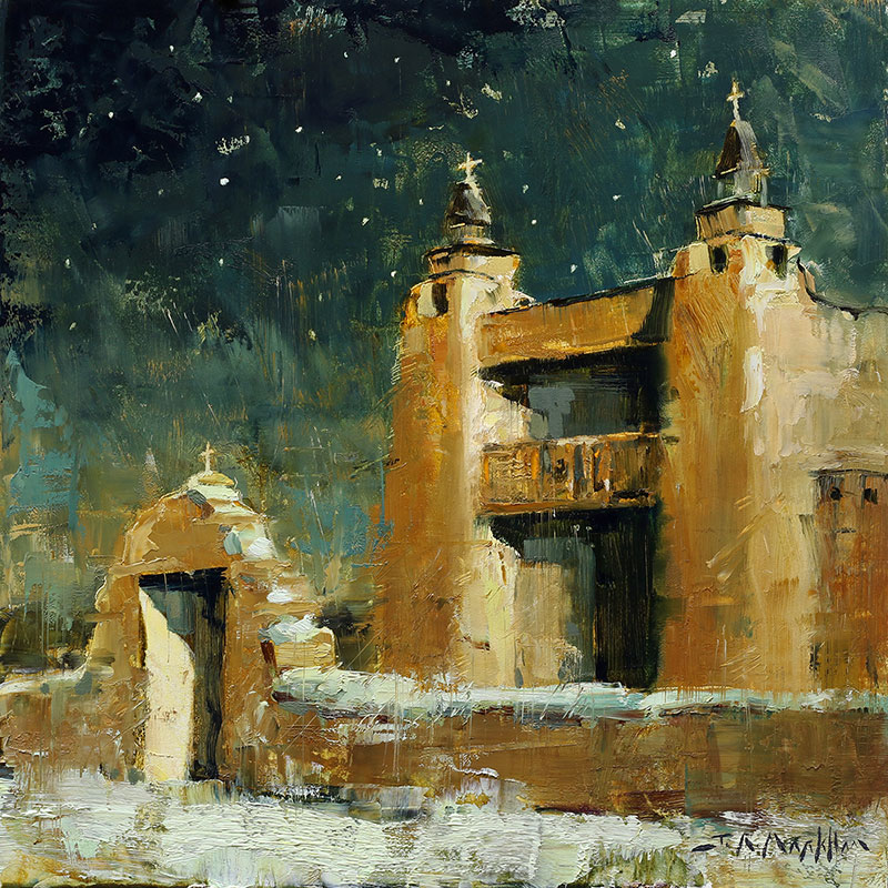 Midnight Mission - painting of a new mexico mission by Jerry Markham artist