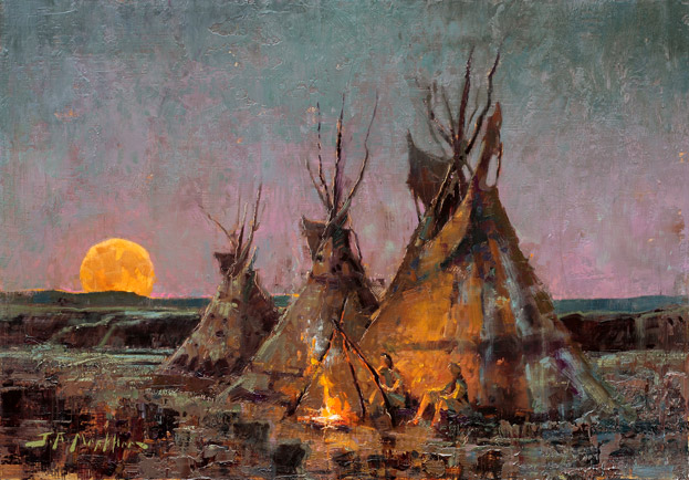 Moonlight Sonnet - painting of tipis at night with moon rising by Jerry Markham