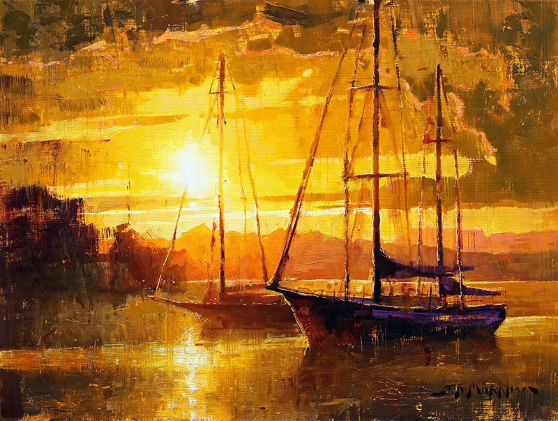 Pacific Sunset - painting of sailboats at sunset by artist Jerry Markham