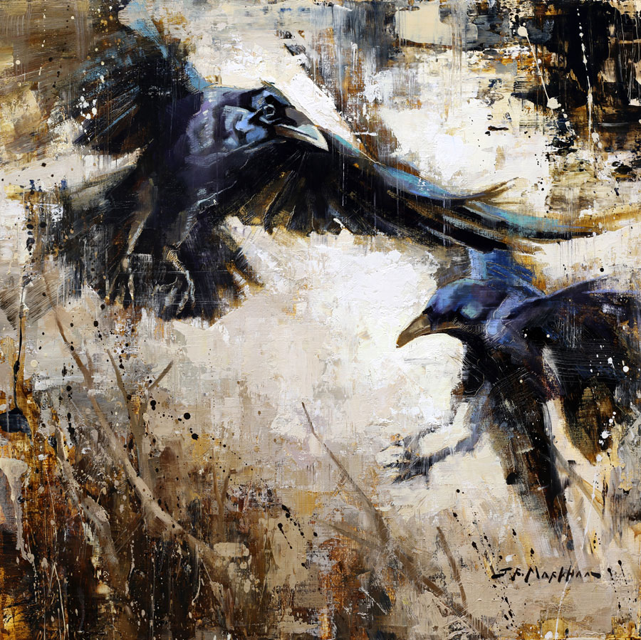 Partners in Crime - painting of ravens by Jerry Markham