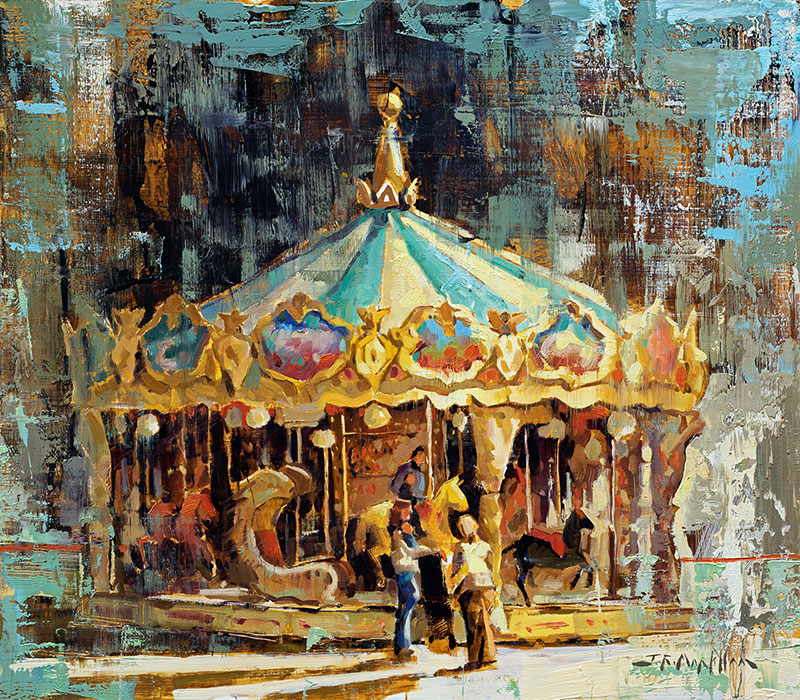 Perpetual Whimsy - painting of a Merry Go Round by Jerry Markham artist