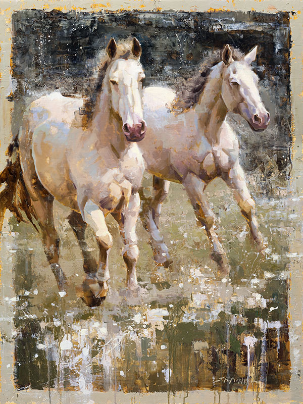 Poetry in Motion - painting of white horses by artist Jerry Markham