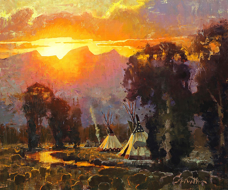 Remnant of Day - painting of teepees by Jerry Markham