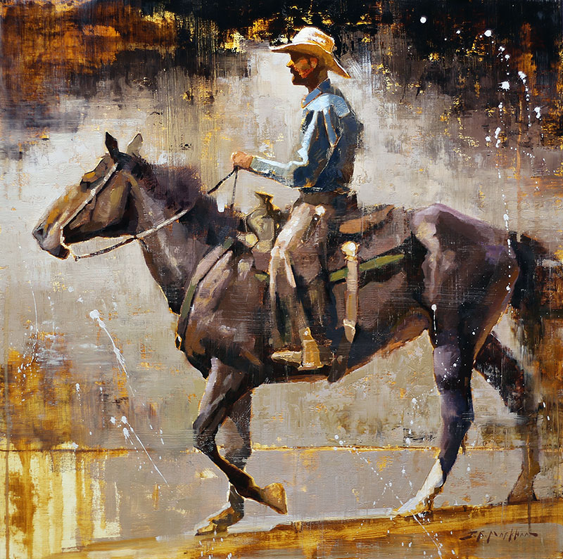 Riding Tall - western painting by Jerry Markham