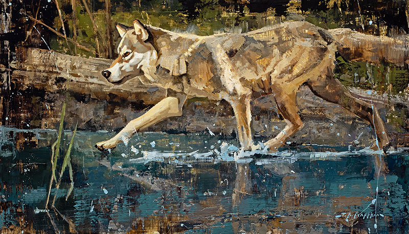 River Runner - wolf painting by Jerry Markham artist