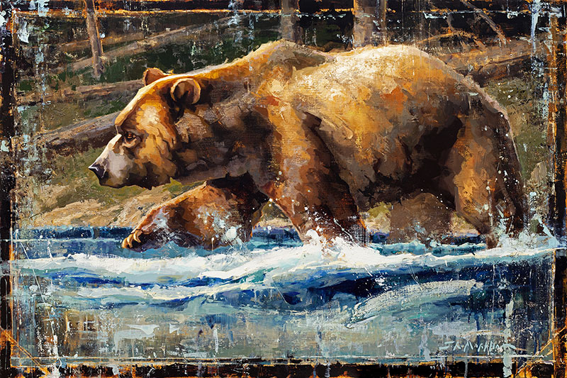River Wild - painting of grizzly bear in river by Jerry Markham artist