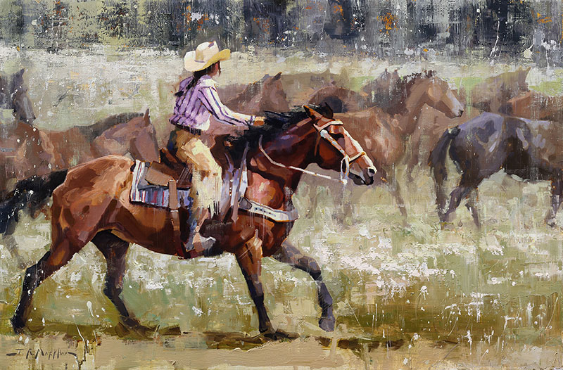 Round Up - western painting by artist Jerry Markham