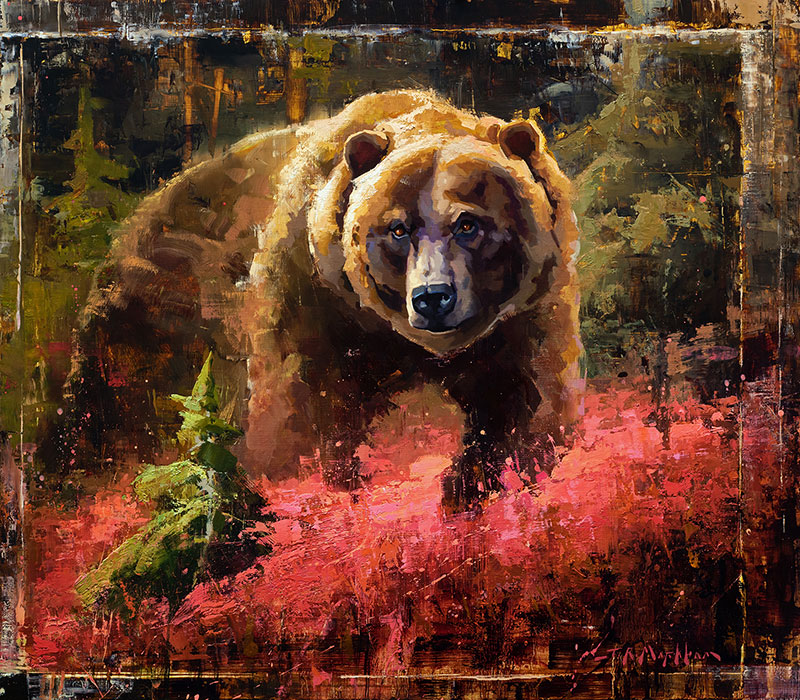 Season of Change - grizzly bear painting by artist Jerry Markham