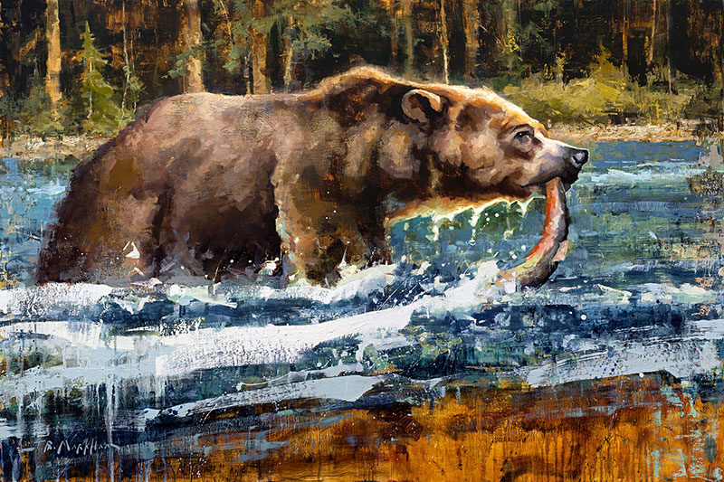 Snatching Supper - painting of a grizzly bear catching a fish by artist Jerry Markham