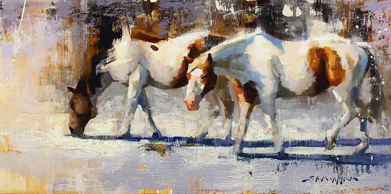 Snow Paints - horse painting by Jerry Markham artist