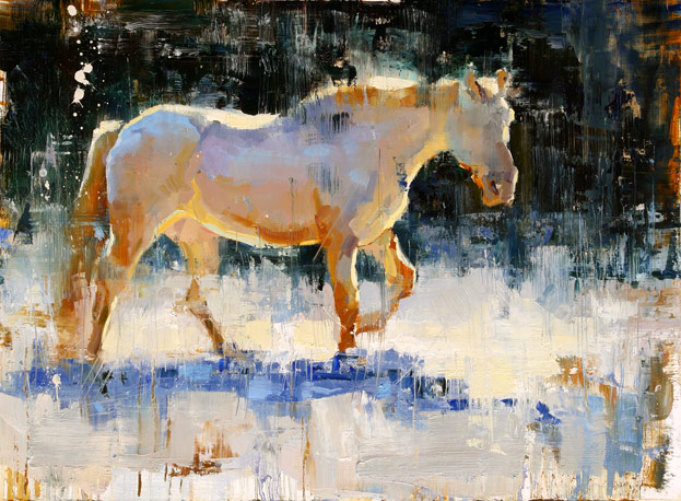 Snow White - painting of a white horse by Jerry Markham