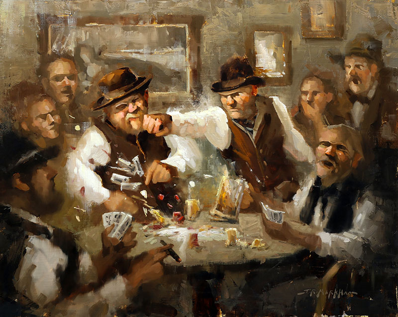 Sore Loser - painting of a western bar fight by Jerry Markham artist
