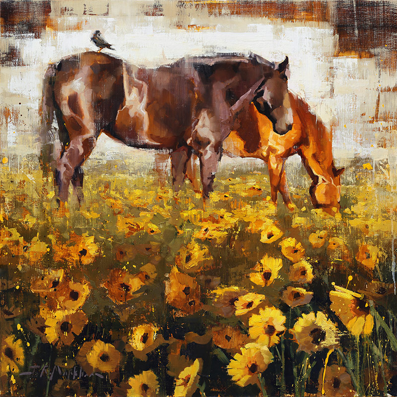 Spring Fields - painting of horses