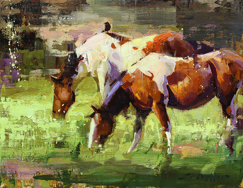 Spring Paints - painting of horses by artist Jerry Markham