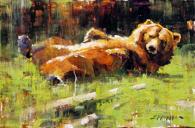 Strike a Pose - bear painting by Jerry Markham