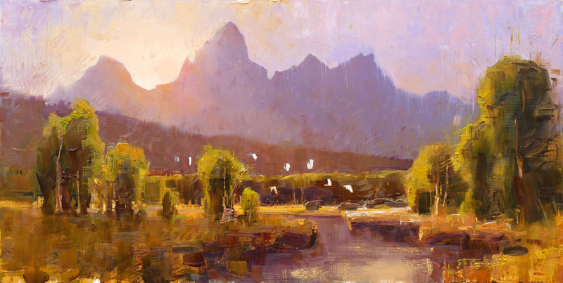 Teton Twilight - painting of Teton mountains