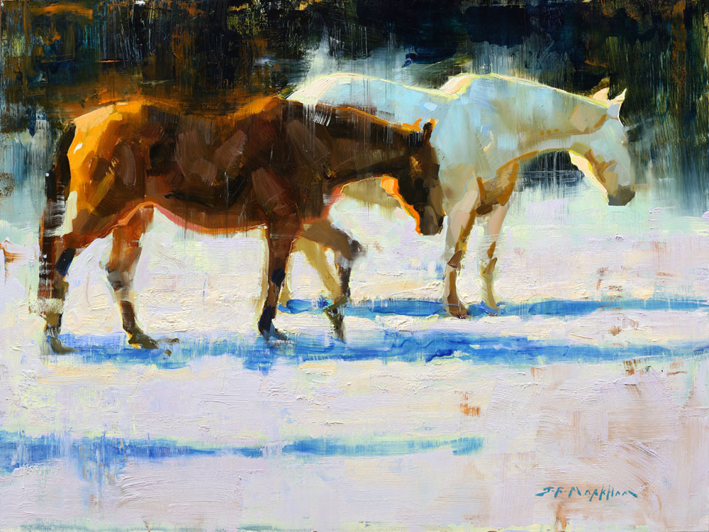 The Three of Us - painting of horses by Jerry Markham