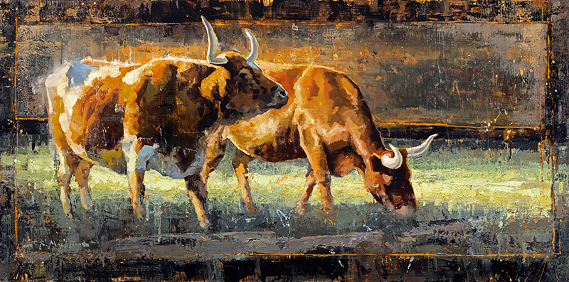 The Life of Riley - painting of longhorns western art by artist Jerry Markham