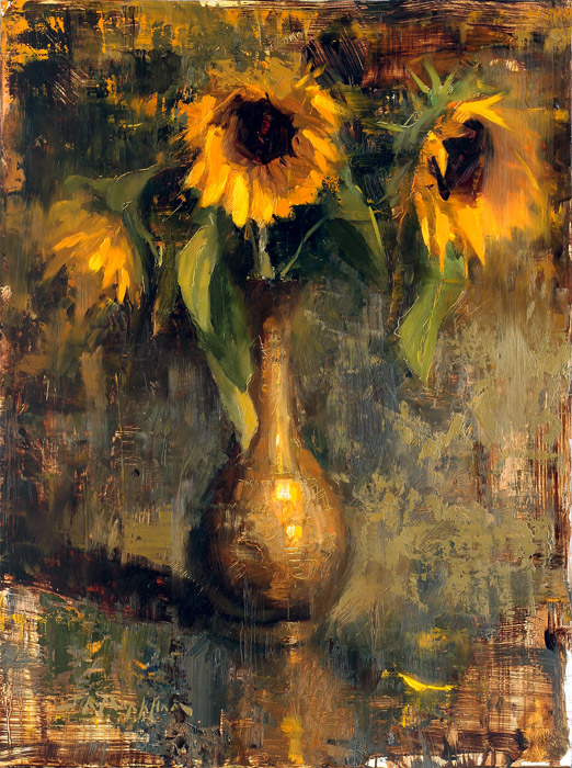 Three of a Kind - painting of sunflowers by Jerry Markham