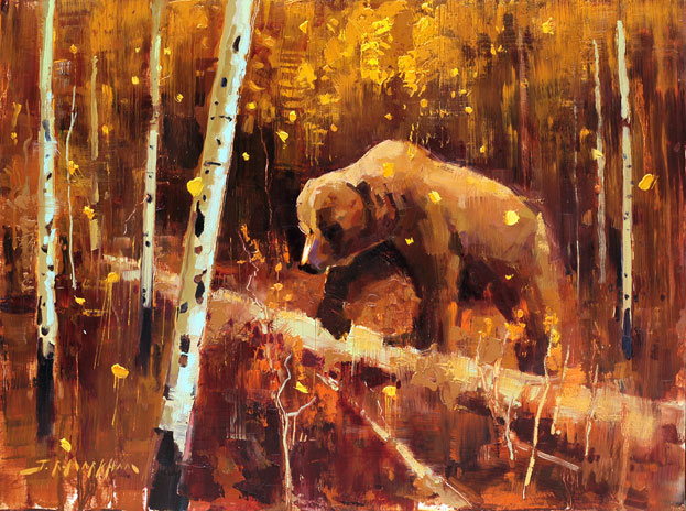 Through The Fall - grizzly bear painting by Jerry Markham