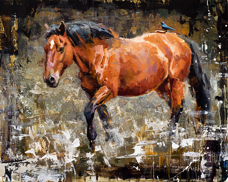 Trail Rider - painting of a chestnut horse with bird on his back by Jerry Markham artist