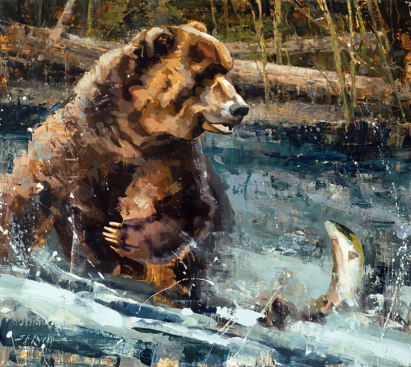 Trip to the Sushi Bar - grizzly painting by Jerry Markham artist