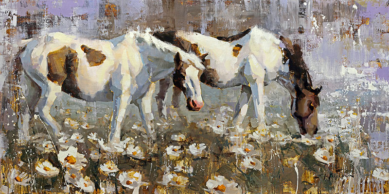 Twin Paints - painting of horses in spring by artist Jerry Markham