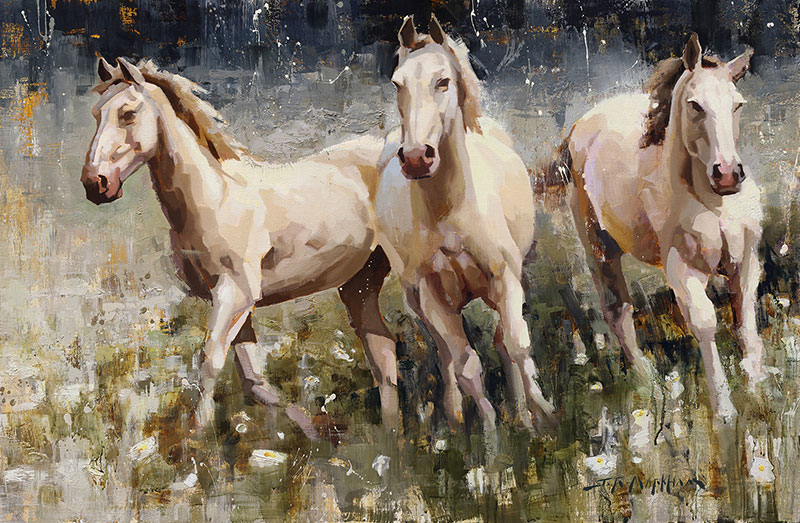We Three - painting of three white horses by artist Jerry Markham