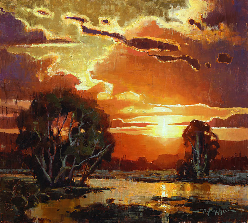 Western Brilliance sunset painting by Jerry Markham
