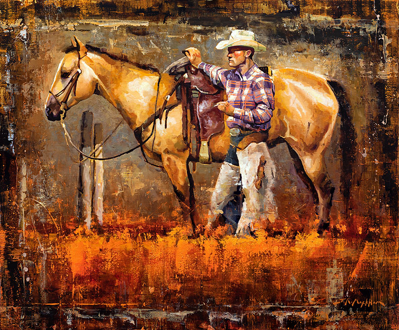 Western Stature - cowboy painting western art by artist Jerry Markham