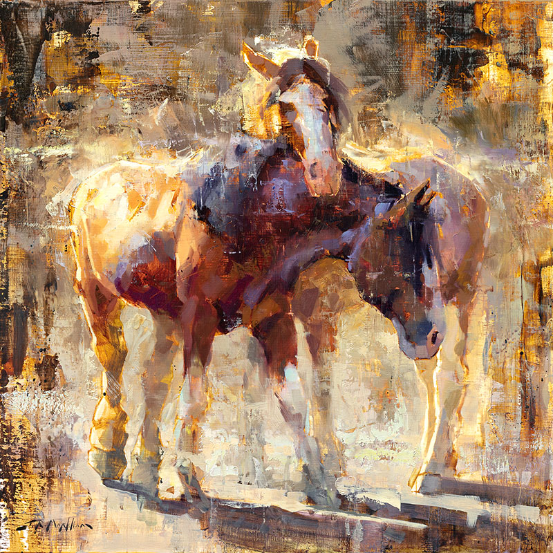 What Are Friends For - painting of horses by Jerry Markham artist