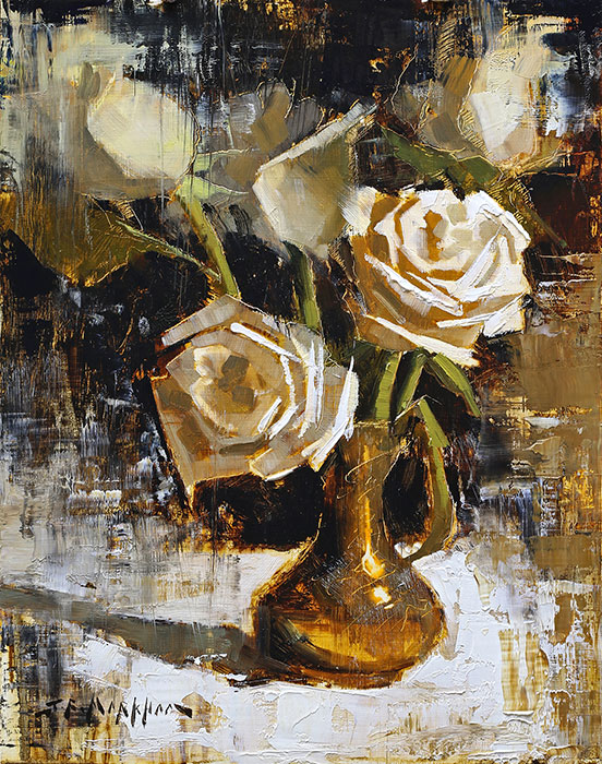 Painting of white roses by Jerry Markham