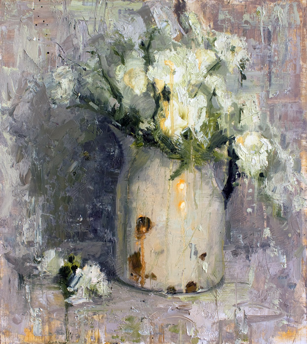 White On White - Floral painting by Jerry Markham